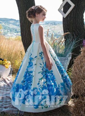 Blue flower printed white satin gown with tulle underneath skirt side view