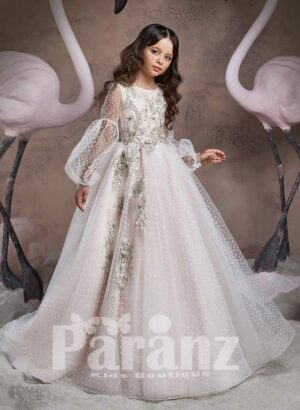 Disney princess inspired major flower appliqués floor length tulle skirt dress