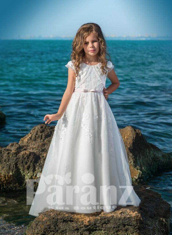 Elegant long white all over sequin and pearl design soft tulle skirt dress with royal bodice