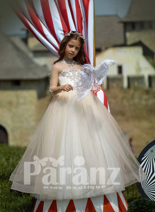 Ivory-white soft and long tulle skirt dress with glitz flower appliquéd bodice