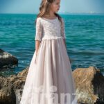 Light metal pink satin-sheer dress with long tulle skirt and appliquéd bodice