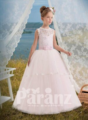 Light pink lace- sequin satin bodice with tulle skirt dress