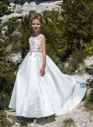 Rich satin long tulle skirt dress in white