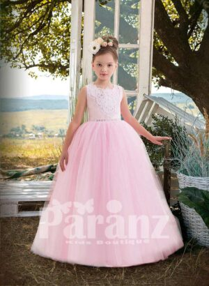 Sequin and pearl studded appliquéd bodice with long pink tulle skirt
