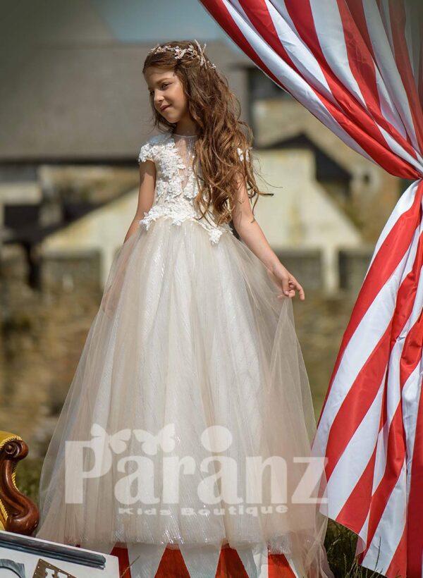 Sheer-satin long dress with spring flower appliquéd bodice and long tulle skirt