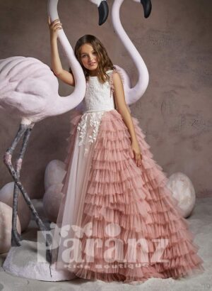 Soft multi-layer cloud tulle skirt dress with beautiful designer satin bodice