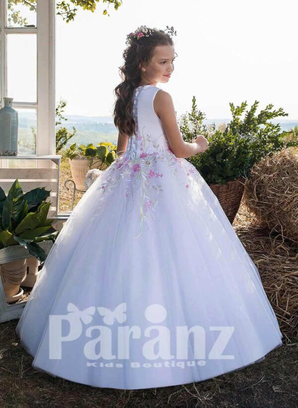 Soft white colorful flower appliquéd bodice tulle skirt dress SIDE VIEW