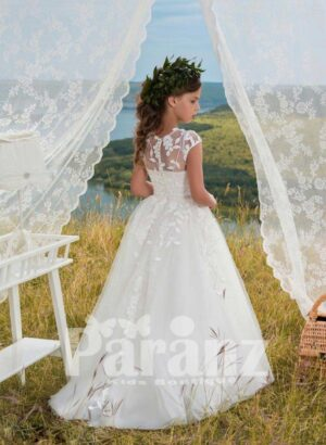 White cap sleeve satin-sheer bodice dress with long tulle skirt side view