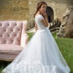 White glitz tulle skirt dress with net woven satin-sheer appliquéd bodice side view