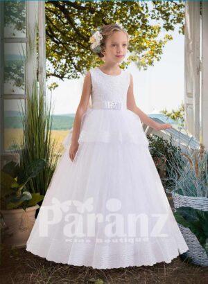 White hue soft satin tulle skirt dress with overskirt