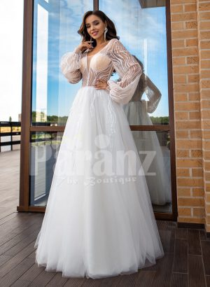 Arabian fairy tale inspired pearl white princess wedding tulle gown