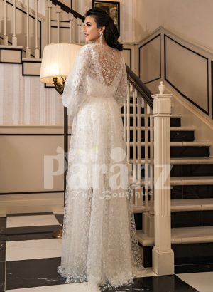 Arabian style sleeve tulle gown with all over lace work and royal bodice back side view