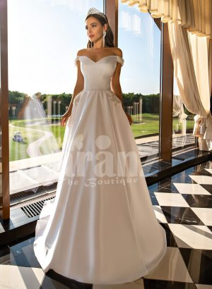 Beautiful metal white off-shoulder tulle underneath Cinderella wedding gown