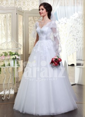 Beautiful milk white flared tulle skirt wedding gown with royal thread appliquéd bodice