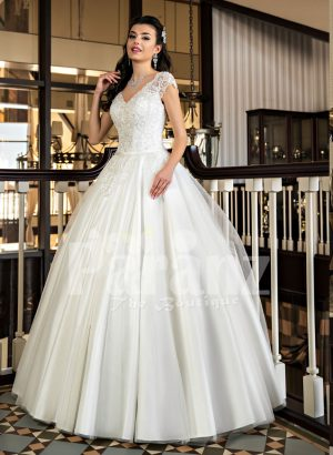 Beautiful rich white satin gown with high volume tulle underneath skirt and rich bodice