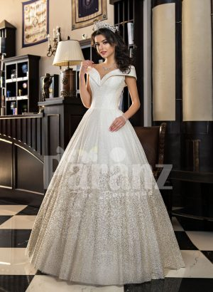 Disney princess styled high volume wedding tulle gown with stunning bodice