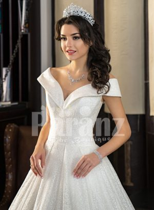 Disney princess styled high volume wedding tulle gown with stunning bodice Close view