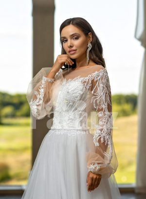 Elegant white soft tulle skirt wedding gown with full sleeve royal bodice for women