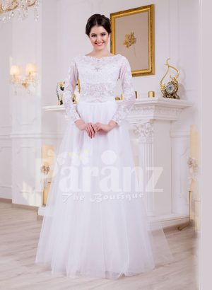 Full sleeve super stylish pearl white floor length wedding gown with tulle skirt