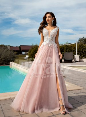 Metal pink side slit wedding tulle gown with glam glitz royal bodice