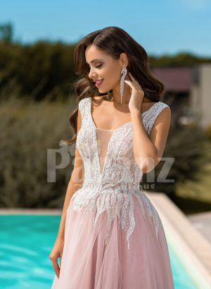 Metal pink side slit wedding tulle gown with glam glitz royal bodice close view