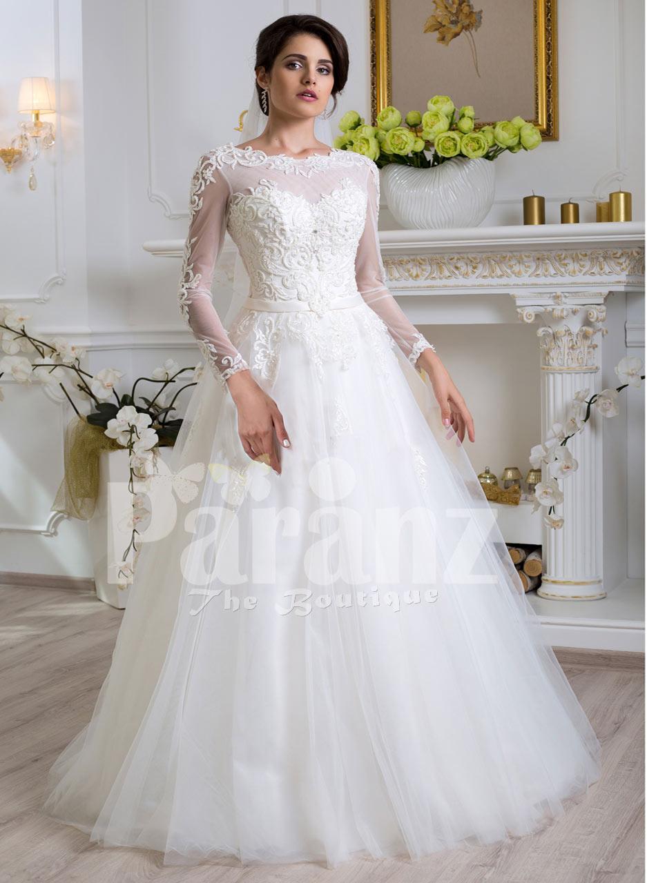 Women S Beautiful Full Sleeve Floor Length Tulle Skirt Wedding Gown In