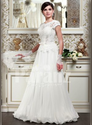 Women's elegant pearl white floor length wedding gown with super lacy bodice and tulle skirt