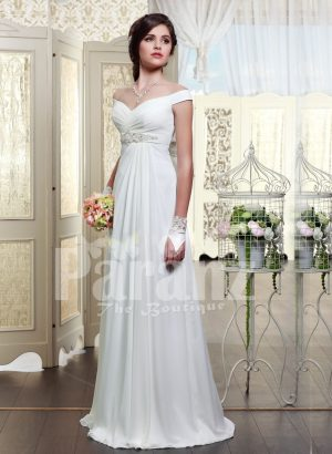 Women's off-shoulder rich satin glossy white floor length wedding gown