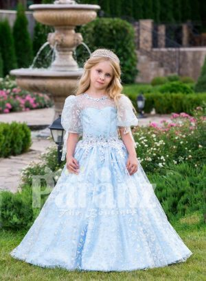 Arabian sheer sleeve metallic sky blue baby party gown with flared tulle skirt and glitz work