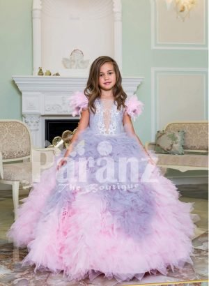 Baby pink-purple ruffle-tulle flared and high volume floor length gown for little girls new