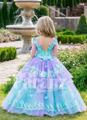 Beautiful floral work flared tulle skirt baby gown with soft tulle overskirt Back side view
