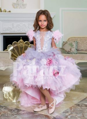 Beautiful tulle-ruffle multi-color cloud skirt baby gown with sequin work satin-sheer bodice