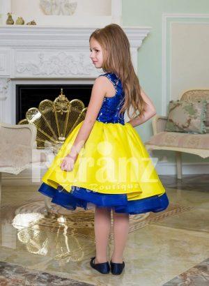 Bright blue-yellow tea length tulle skirt sleeveless satin party dress for girls back side view