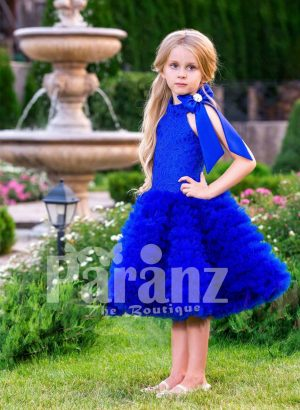 Bright royal blue close neck baby party dress with soft cloud tea length skirt