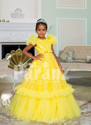 Bright yellow floor length ruffle-tulle elegant party gown for girls