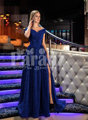 Elegant blue glitz evening gown with off-shoulder bodice and side slit skirt for women