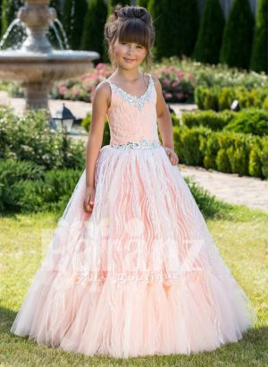 Elegant sleeveless peach hue floor length baby party gown with glitz sequin work all over