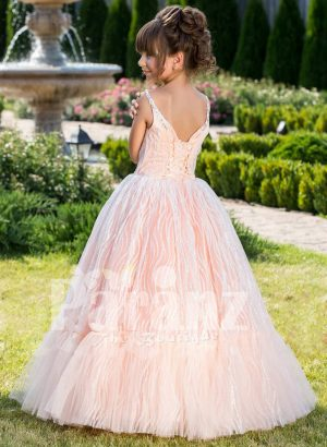 Elegant sleeveless peach hue floor length baby party gown with glitz sequin work all over side view
