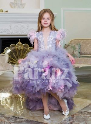 Exclusive high-low cloud tulle-ruffle skirt baby gown with beautiful bodice and feather sleeves