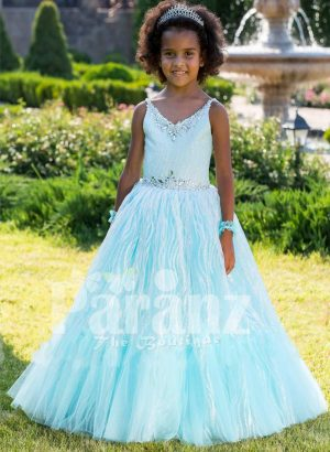 Exclusive sky blue sleeveless soft satin baby party gown with flared floor length tulle skirt
