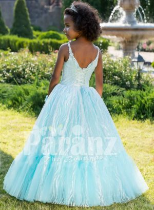 Exclusive sky blue sleeveless soft satin baby party gown with flared floor length tulle skirt back side view