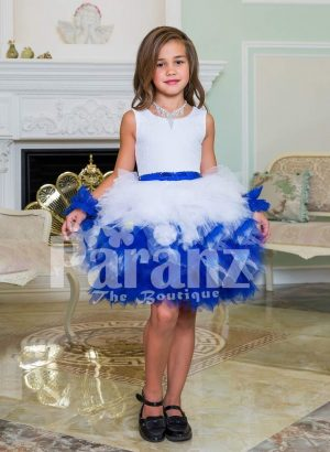 Exclusive white-blue ruffle cloud skirt elegant party dress with rich satin white bodice for girls