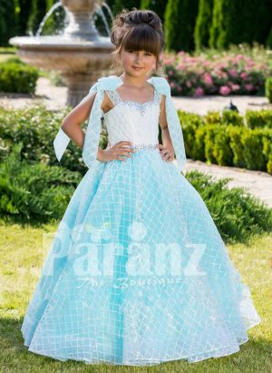 Floor length elegant baby gown with rich white satin bodice and shoulder sheer frills