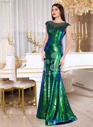 Glitz black-blue-green floor length mermaid style evening satin gown for women's