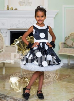 Navy blue tea length tulle skirt sleeveless party dress with white ball print all over