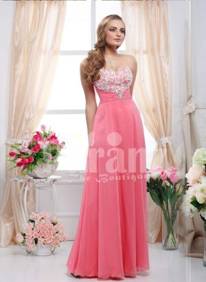Off-shoulder bodice with lace-rhinestone work floor length sleek tulle skirt gown in peach pink
