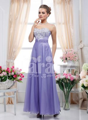 Off-shoulder rhinestone-lace work bodice evening gown with long violate sleek tulle skirt