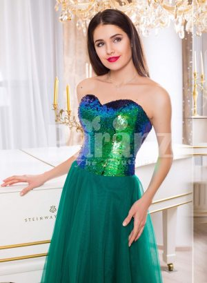 Peacock color off-shoulder bodice glam evening gown with long green tulle skirt