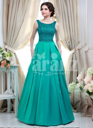 Women' unique and glam evening gown with bottle green appliquéd bodice and satin skirt