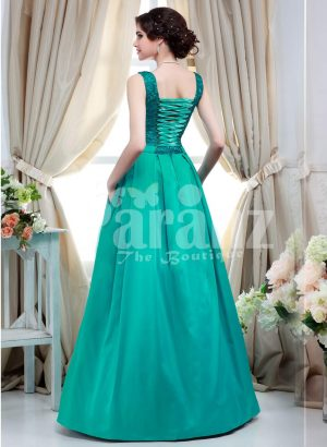 Women' unique and glam evening gown with bottle green appliquéd bodice and satin skirt back side view